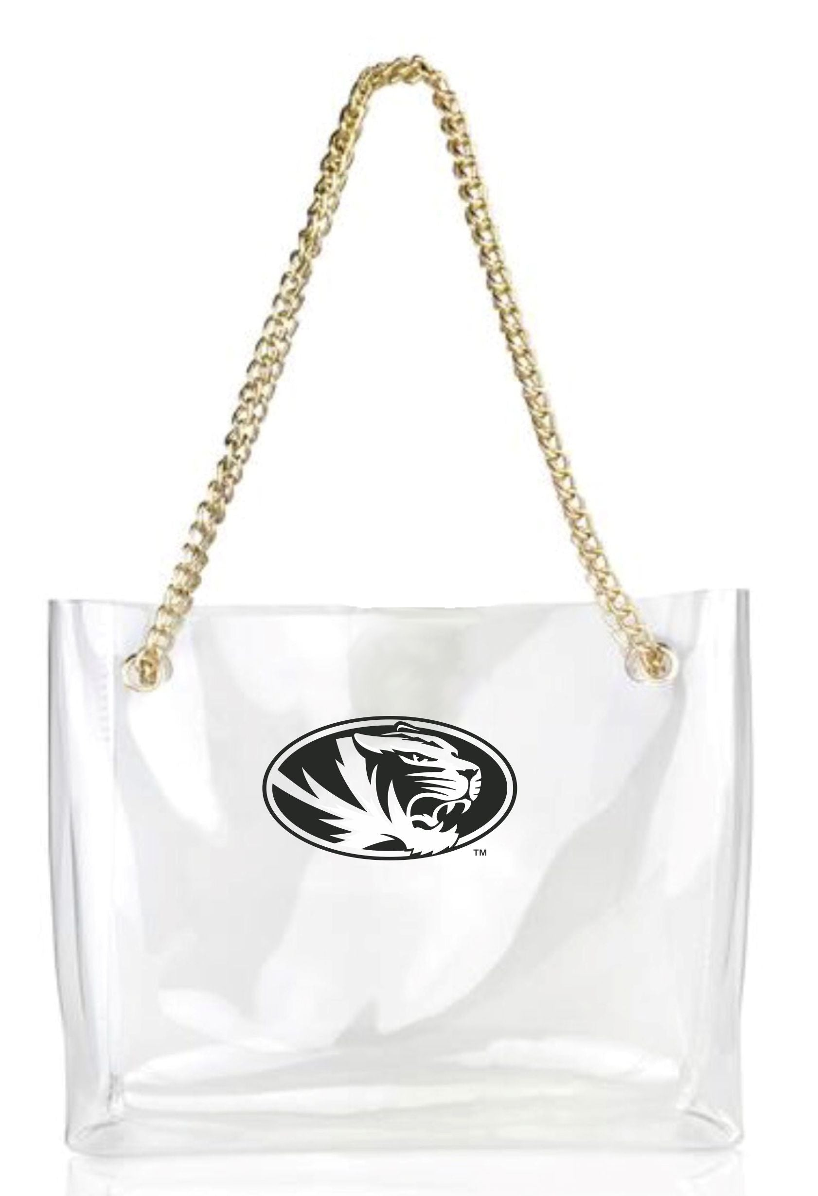 69003213583d Mizzou Oval Tiger Head Stadium Clear Tote with Gold Chain – Tiger Team Store
