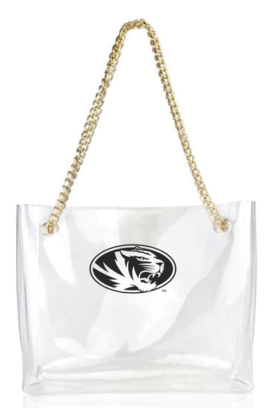 Mizzou Oval Tiger Head Stadium Clear Tote with Gold Chain