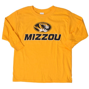 Mizzou Kids' Oval Tiger Head Gold Long Sleeve T-Shirt