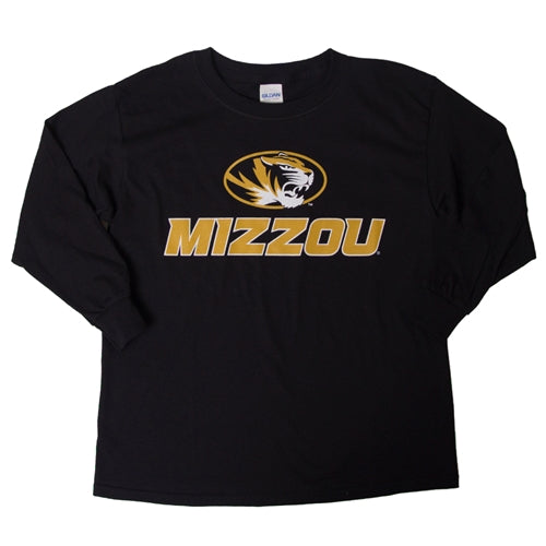 Mizzou Kids' Oval Tiger Head Black Long Sleeve T-Shirt