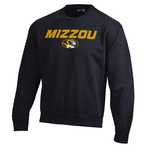 Mizzou Oval Tiger Head Black Crew Neck Sweatshirt