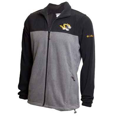 Mizzou Tiger Head Columbia Color Block Black and Grey Fleece Jacket