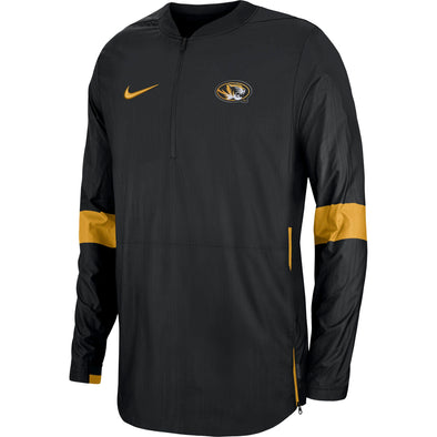 Mizzou Nike® 2019 Coaches 1/4 Zip Oval Tiger Head Black Jacket