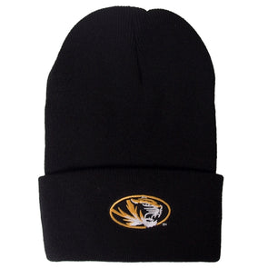 Mizzou Oval Tiger Head Black Cuffed Beanie