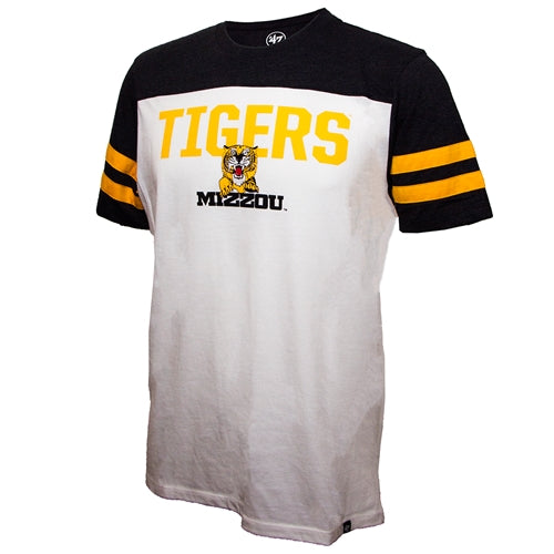 buy online 67011 f0974 Mizzou Tigers Retro Tiger Striped Sleeve White T- Shirt