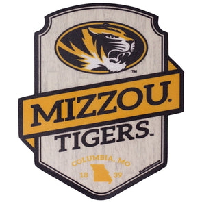 Mizzou Tigers Woodgrain Black & Gold Sticker