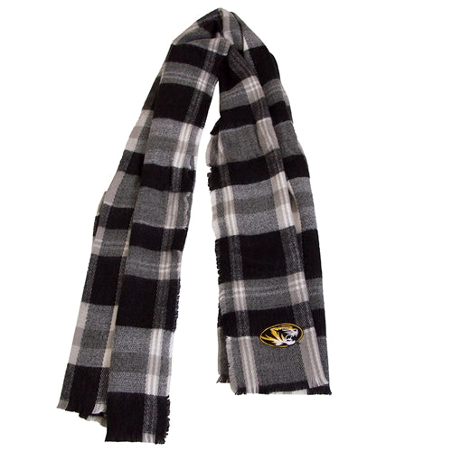 Mizzou Oval Tiger Head Black and White Plaid Scarf