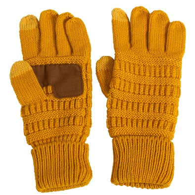C.C. Kids Gold Smart Touch Knit Gloves