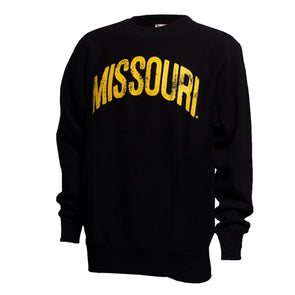 Missouri Distressed Oversized Black Crew Neck Sweatshirt