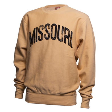 Missouri Distressed Oversized Yellow Crew Neck Sweatshirt