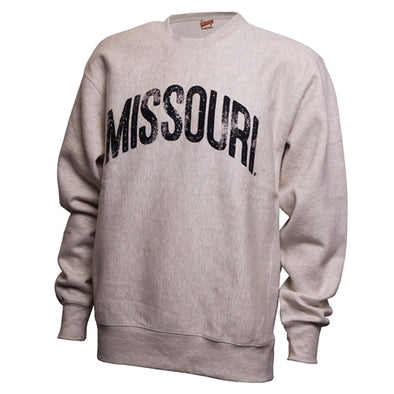 Missouri Distressed Oversized Off-White Crew Neck Sweatshirt