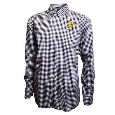 Mizzou Retro Tiger Black and White Gingham Dress Shirt