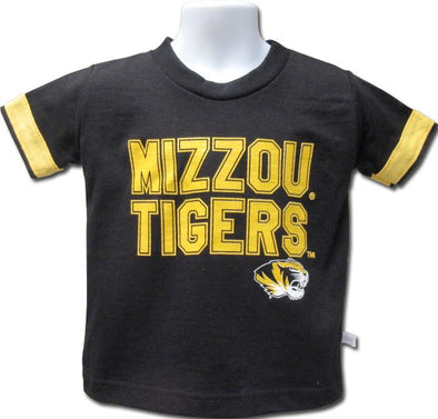 Mizzou Tigers Youth Tiger Head Strip Sleeve Black T-Shirt