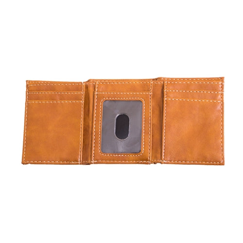 Mizzou Lazer Engraved Oval Tiger Head Brown Trifold Wallet