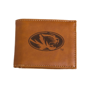 Mizzou Lazer Engraved Oval Tiger Head Brown Bifold Wallet