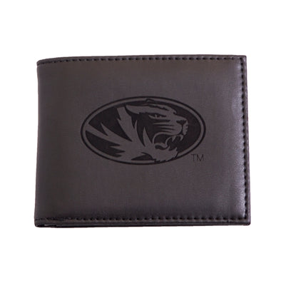 Mizzou Lazer Engraved Oval Tiger Head Black Bifold Wallet