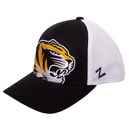 Mizzou Tiger Head Black and White Mesh Youth Hat