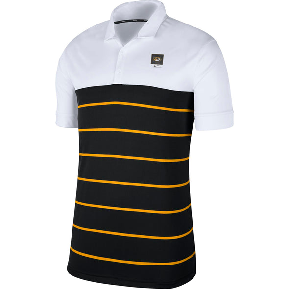 Mizzou Nike® 2020 Striped Oval Tiger Head Black, Gold, and White Polo