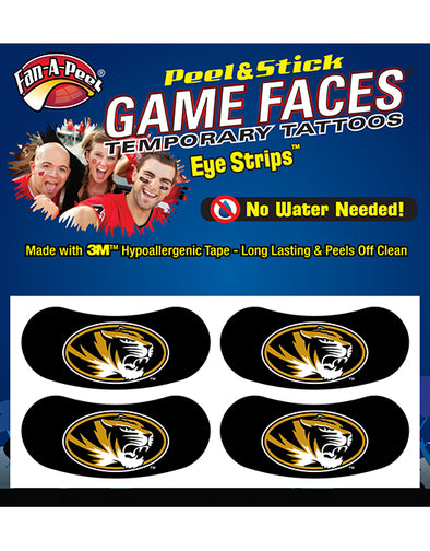 Mizzou Eye Black Strip Oval Tiger Head Tattoos