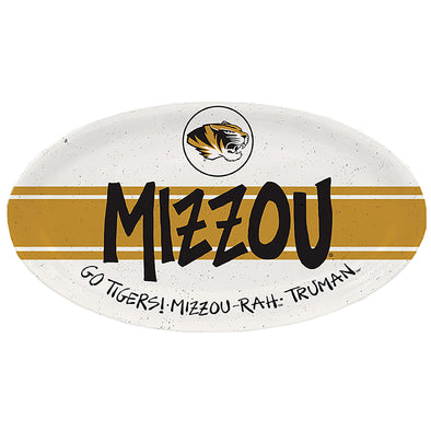 Mizzou Rah Truman Tigers Tiger Head White and Gold Melamine Oval Platter