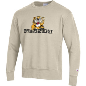 Mizzou Retro Tiger Logo Champion Off White Sweatshirt