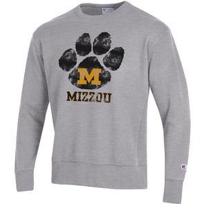 Mizzou Grey Pawprint Block M Grey Sweatshirt
