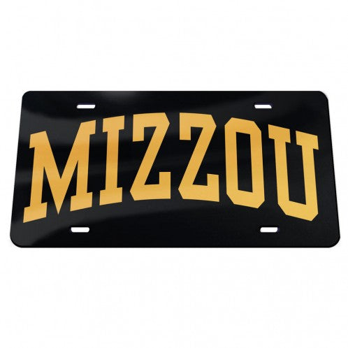 Mizzou Acrylic Arched Black and Gold License Plate