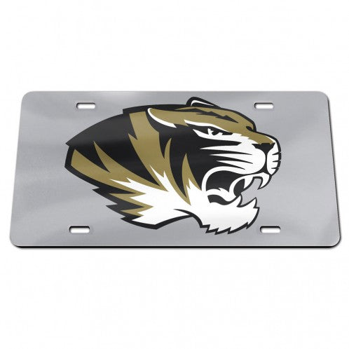 Mizzou Tiger Head Silver Acrylic  License Plate