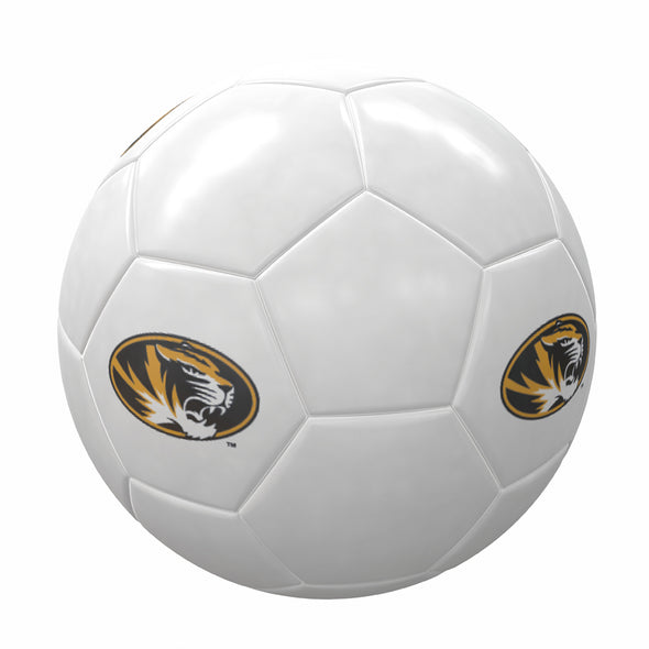 Mizzou Tigers Oval Tiger Head Full Size White Soccer Ball