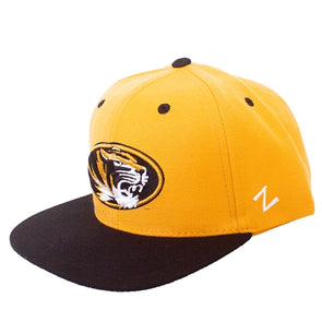 Mizzou Oval Tiger Head Black and Gold Snapback Hat