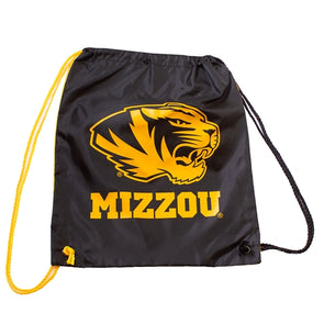 Mizzou Tiger Head Black and Gold Drawstring Bag