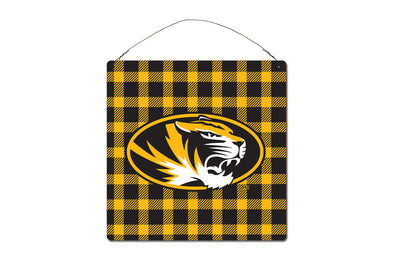 Mizzou  Buffalo Plaid Metal Sign 12 X 12