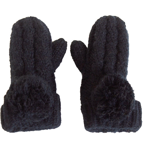 C.C. Kids Black Lined Pom Knit Mittens