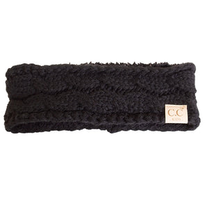 C.C. Kids Black Knit Lined Headband