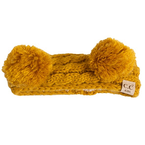 C.C. Kids Gold Knit Lined Double Pom Headband