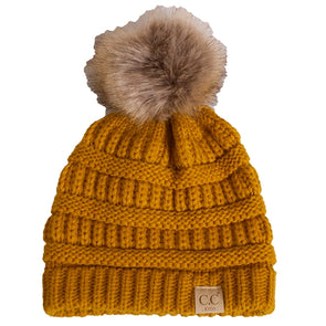 C.C. Kids Gold Knit Pom Beanie