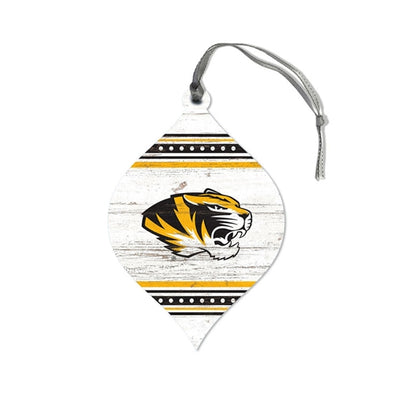 Mizzou Tiger Head Stripe Teardrop Wooden Ornament