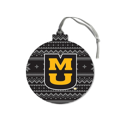 Mizzou Nordic Sweater Round Wooden Ornament