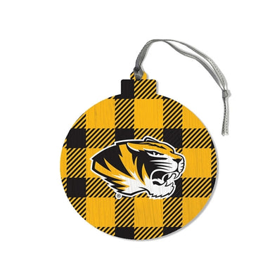 Mizzou Tiger Head Plaid Round Wooden Ornament