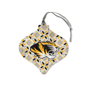 Mizzou Tiger Head Sweater Bulb Wooden Ornament