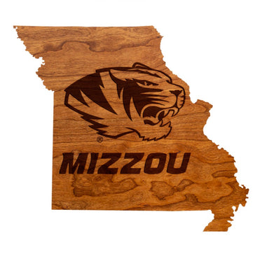 Mizzou Tiger Head Missouri State Outline Wooden Sign