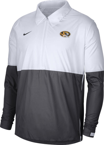 Mizzou Nike® 2020 Team Issue Half Zip Oval Tiger Head Lightweight Grey and White Jacket