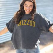 Mizzou Short Sleeve Corded Grey Sweatshirt