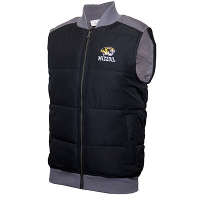 Mizzou Tiger Head Champion Black and Grey Puffer Vest