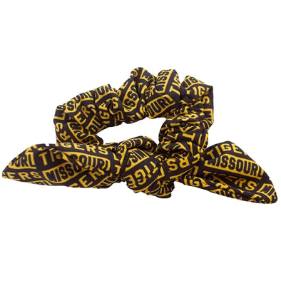 Missouri Tigers Black and Gold Block Tie Scrunchie