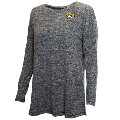 Mizzou Oval Tiger Head Women's Heather Grey Crew Neck Shirt