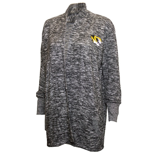 Mizzou Tiger Head Women's Charcoal Cardigan