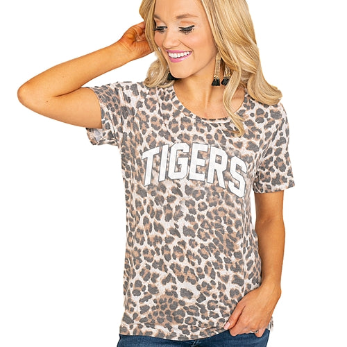 Mizzou Tigers Cheetah Print Junior's T-Shirt