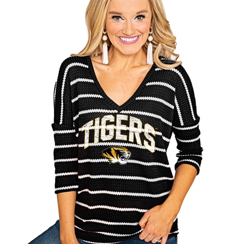 Mizzou Tigers Tiger Head Black and White V-Neck Knit Sweater