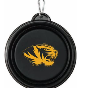 Mizzou Tiger Head Black and Gold Collapsible Pet Bowl
